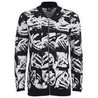 Mcq By Alexander Mcqueen Mcq Alexander Mcqueen Men's Zip Through Hand Jacquard Knitted Cardigan Black White