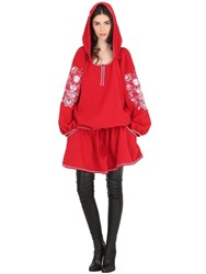 Cc By Camilla Cappelli Matrioska Embroidered Crepe Hooded Dress