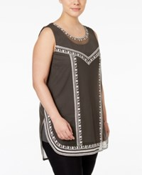 Alfani Plus Size Embroidered Tank Top Only At Macy's Urban Olive