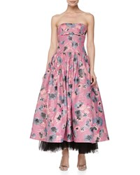Rebecca Taylor Strapless Floral Brocade Ball Gown Fuchsia Pink