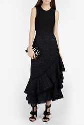 Erdem Creena Ruffled Tweed Skirt Black