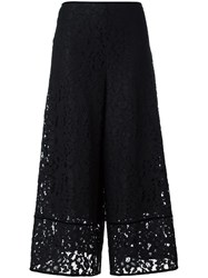 See By Chloe 'Floral Embroidered Lace' Flared Trousers Black