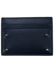 Valentino Leather Rockstud Cardholder Navy