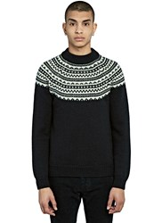Saint Laurent Fair Isle Knitted Sweater Black