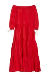 Mds Stripes Red Tiered Peasant Dress