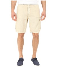True Grit Sunset Linen Cargo Drawstring Short Faded Stone Men's Shorts Beige