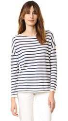 Nili Lotan Striped Crew Neck Sweater Ecru Indigo