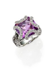 John Hardy Classic Chain Amethyst Diamond And Sterling Silver Medium Braided Ring Silver Amethyst