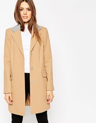 Asos Coat With Contrast Collar Camel