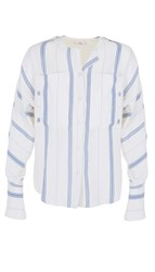 Tibi Warren Striped Shirting Dolman Military Blouse
