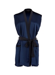 Kiki De Montparnasse 'Amour' Sleeveless Silk Robe Blue