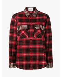 Gucci Check Shirt With Studding Red Black White Silver Denim