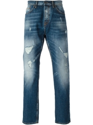 Msgm Distressed Straight Fit Jeans