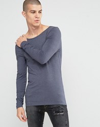 Asos Extreme Muscle Long Sleeve T Shirt With Boat Neck In Navy Navy