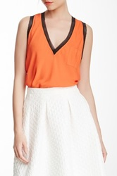 L.A.M.B. Silk Sleeveless Blouse Orange