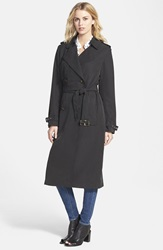 Vera Wang Double Breasted Long Trench Coat Black