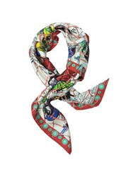 Christian Lacroix Ceramic Print Silk Square Scarf White