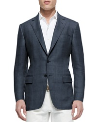 Loro Piana Madrid Check Denim Sport Jacket Blue