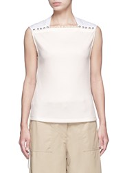 3.1 Phillip Lim Button Neck Poplin Rib Knit Combo Sleeveless Top White