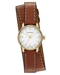 Burberry 30Mm Utilitarian Double Wrap Watch Brown