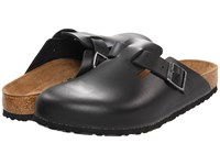 Birkenstock Boston Soft Footbed Unisex Black Amalfi Leather Clog Shoes