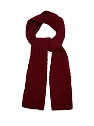 Raey Cable Knit Wool Scarf Burgundy