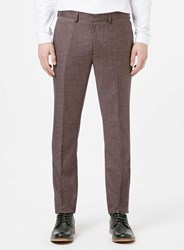 Topman Burgundy Crosshatch Skinny Fit Suit Trousers Red