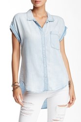 Sneak Peek Denim Short Sleeve Chambray Button Down Blue