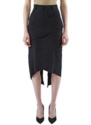 Aganovich Asymmetric Layered Pencil Skirt Black