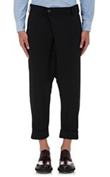 Wooster Lardini Men's Wool Blend Drop Rise Crop Trousers Black