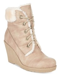 Mojo Moxy Dolce By Fresco Lace Up Wedge Booties Women's Shoes Camel