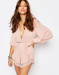 Kiss The Sky Playsuit With Plunge Neck And Lace Trim Dusty Pink