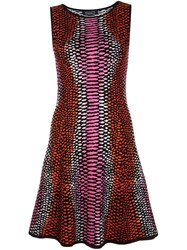 Magaschoni Lizard Skin Effect Dress Pink And Purple