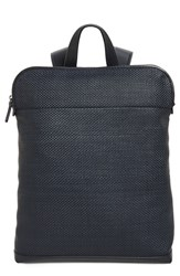 Ermenegildo Zegna Men's Woven Leather Backpack Blue Navy