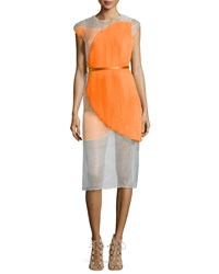 Stella Mccartney Sleeveless Sheer Plisse Colorblock Dress Orange