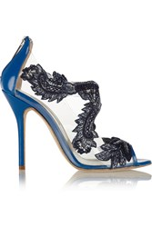 Oscar De La Renta Ambria Floral Appliqued Pvc And Patent Leather Pumps Blue