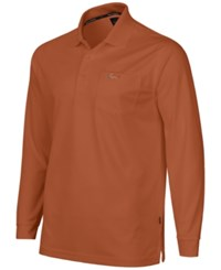 Greg Norman For Tasso Elba Big And Tall 5 Iron Long Sleeve Performance Polo Blood Orange