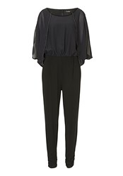 Vera Mont Chiffon And Jersey Jumpsuit Black