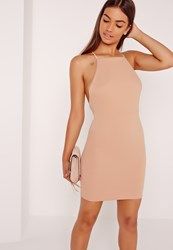 Missguided Cross Back Ribbed Mini Dress Nude Beige