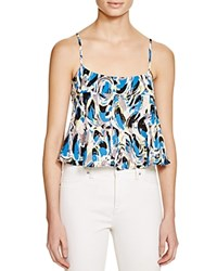 Aqua Abstract Print Cropped Cami Top Blue Black Multi