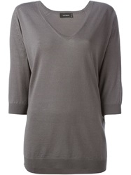 Cividini V Neck Long Sweater Grey
