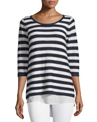 Neiman Marcus Cashmere Collection Sequin Striped Sweater With Chiffon Hem White Navy