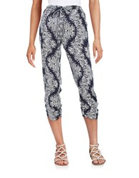 Design Lab Lord And Taylor Ruched Ankle Soft Pants Navy