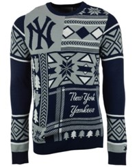 Forever Collectibles Men's New York Yankees Patches Christmas Sweater Navy Gray White