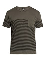Danward Striped Patch Pocket Cotton T Shirt Grey Multi