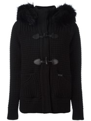 Bark Fur Collar Duffle Coat Black