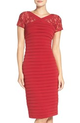 London Times Women's Lace And Jersey Midi Dress Red