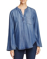 Side Stitch Bell Sleeve Chambray Tunic Night Sky