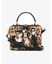 Dolce And Gabbana Leopard Print Document Box Bag Leopard Brown Black Multi Coloured White