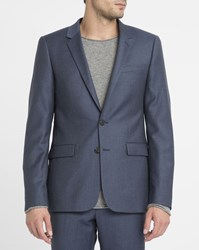 Sandro Navy Wool Suit Jacket Blue